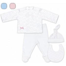 Pack regalo nubes conjunto bebé + gorrito+ babero