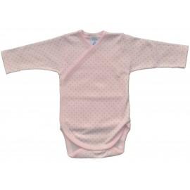 Body manga larga rosa para bordar