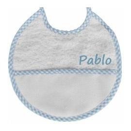Babero vichy azul para bordar