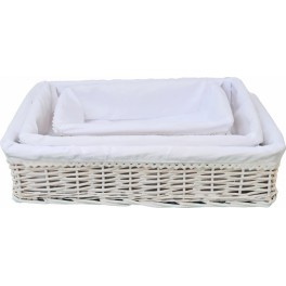 Lote de 3 cestas cuadradas forrito blanco bordado PRECIO MAYORISTAS