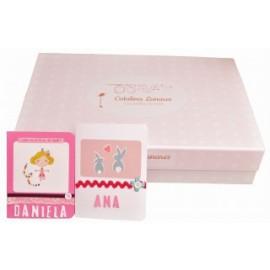 Caja bebé rosa + tarjeta felicitación(Elige tamaño)