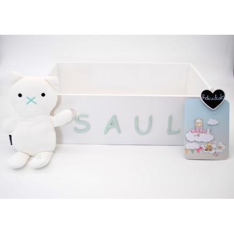 caja pañalera con nombre del bebé