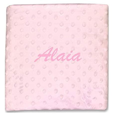 Manta topitos rosa con nombre bordado