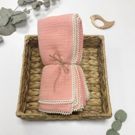 Muselina algodón orgánico color rosa